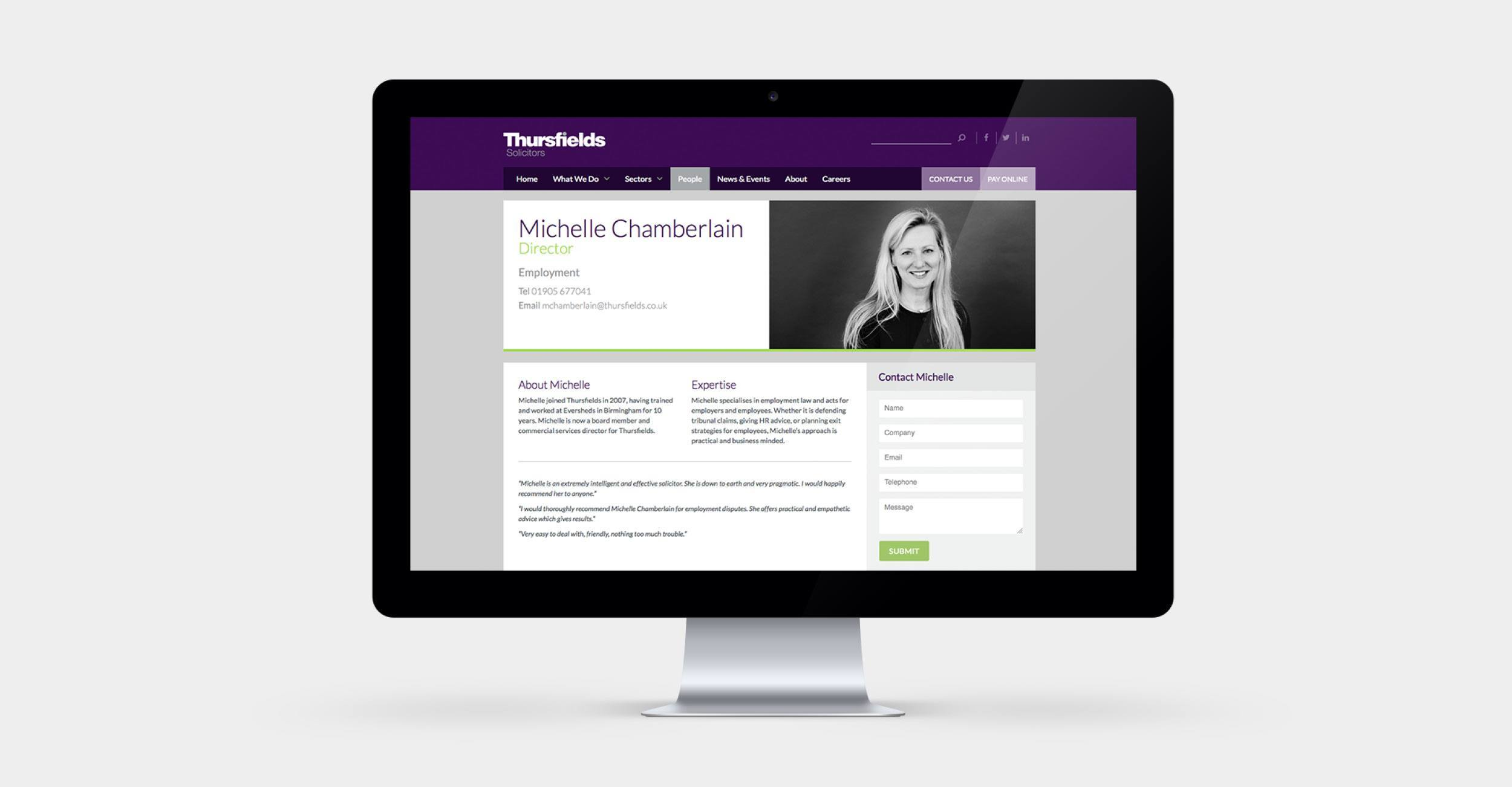 Thursfields Solicitors - Identity Update - Website  - Example 2