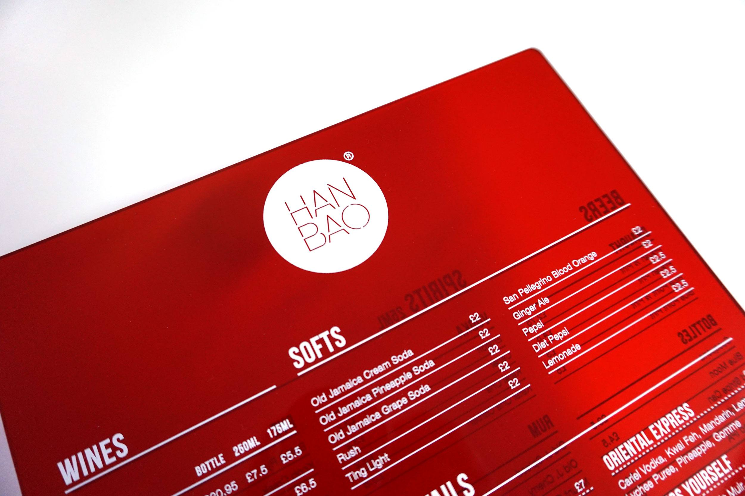 Hanbao Perspex Menu - By DesignReligion